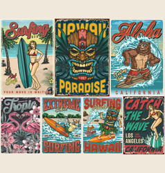 surfing vintage colorful posters composition vector image