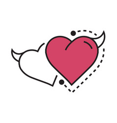 twins line icon style heart devil pink vector image