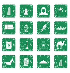 Uae travel icons set grunge vector
