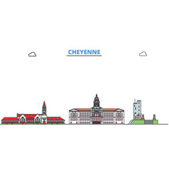 united states cheyenne line cityscape flat vector image