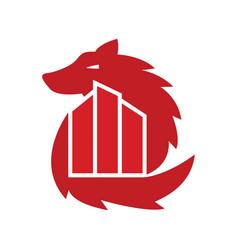 wolf city logo vector image