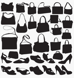 woman sandal purse silhouettes vector image