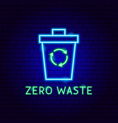 zero waste neon label vector image