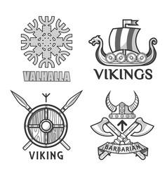 barbarian and ikings emblems vector image vector image