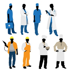 professions silhouettes vector image