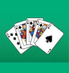 royal flush pop art style vector image