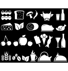 set food objects on black background vector image vector image