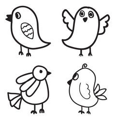 set of bird hand drawn design vector image vector image