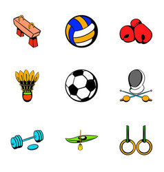 sport competition icons set cartoon style vector image vector image