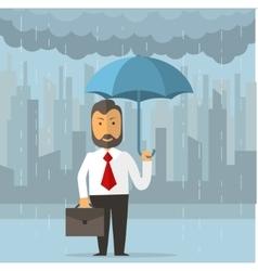 Businessman holding an umbrella vector image