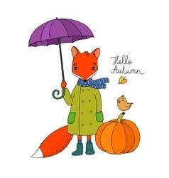 Cute cartoon fox under an umbrella and a small vector image vector image