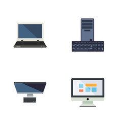 Flat icon laptop set of notebook pc display and vector