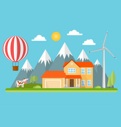 suburban american house in the mountains vector image
