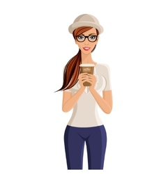 Woman coffee cup portrait vector image