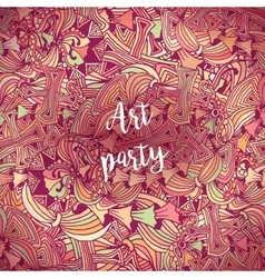 Art party poster template with doodle style vector image vector image