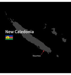 Detailed map of New Caledonia and capital city vector image vector image