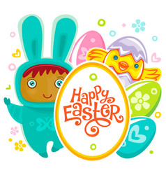 easter card with egg hunting rabbit child vector image vector image