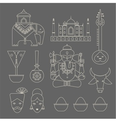Indian icons vector image vector image