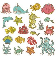 Marine life doodles vector image vector image