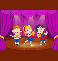 school children singing on the stage vector image