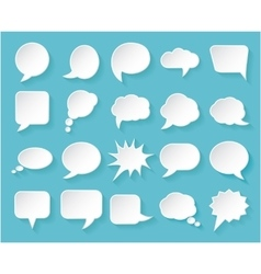 Shiny white paper bubbles for speech on an blue vector image vector image