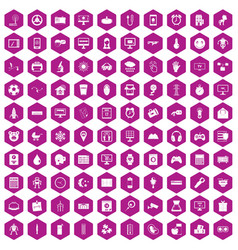 100 app icons hexagon violet vector image