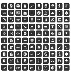 100 tension icons set black vector image