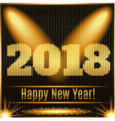 2018 happy new year glowing gold background vector image