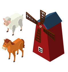 3d design for farm animals and windmill vector image