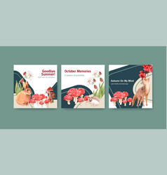 Advertise template with autumn forest and animals vector