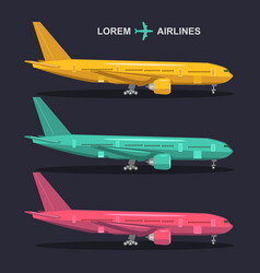 airplanes set aviation in vector image