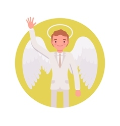 Angel man in a yellow circle vector