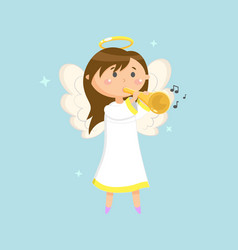 Angel with trumpet angelic girl with wings halo vector