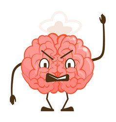 Angry furious brain mad face emoticon isolated on vector