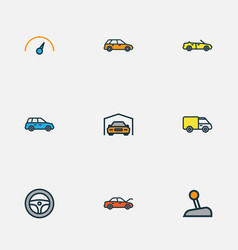 Automobile icons colored line set with station vector