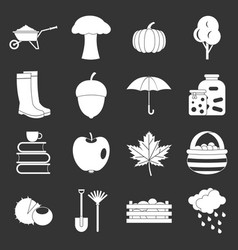 Autumn icons set grey vector