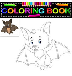 Bat coloring book vector