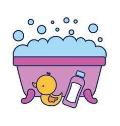 Bathtub foam duck shampoo bathroom vector