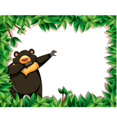 Bear in nature frame vector