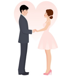 Bride and groom holding hands vector image vector image