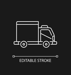 cargo taxi white linear icon for dark theme vector image