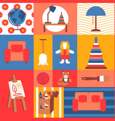 children toys and kids room furniture icons vector image