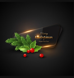 christmas banner with transparent glass vector image