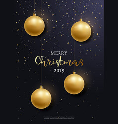 christmas flyer golden balls hanging vector image