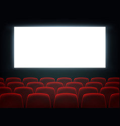 cinema hall with white blank screen and chairs vector image