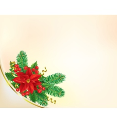 Corner Christmas banner with poinsettia vector