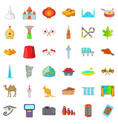 Country landmark icons set cartoon style vector