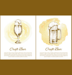 craft beer objects set hand drawn sketches vector image