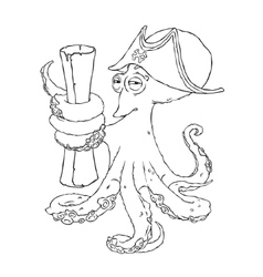 Cunning octopus-pirate in a cocked hat with paper vector