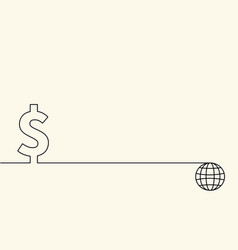 currency symbol dollar and globe in vector image vector image